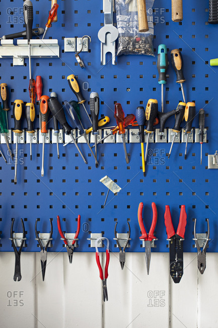Variety of tools hanging on the wall