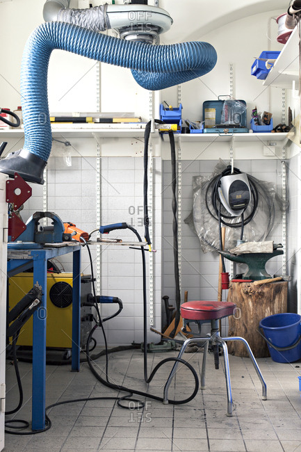Workspace with power tools