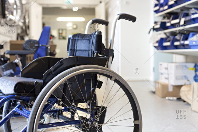 Close-up of a newly manufactured wheelchair
