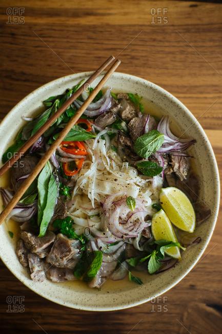 Bowl of fresh Vietnamese pho bo