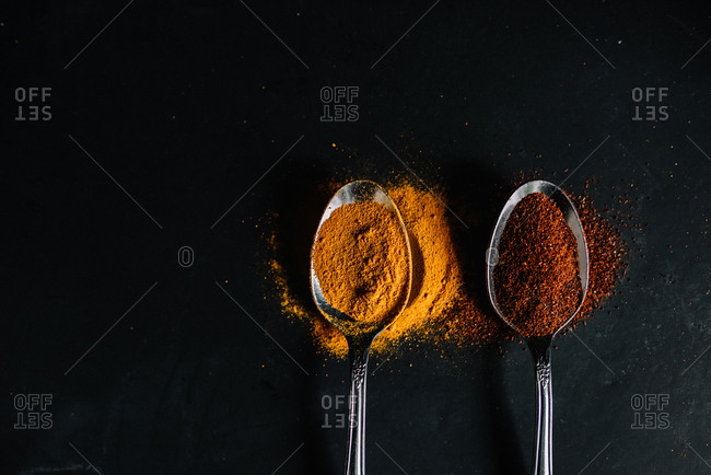 Close up view of spoons containing turmeric and chili powder spices