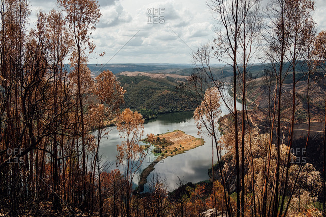 View of a burned forest and a river, Portugal