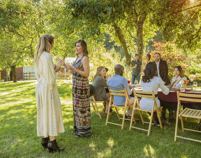 Women standing and talking at party outdoors