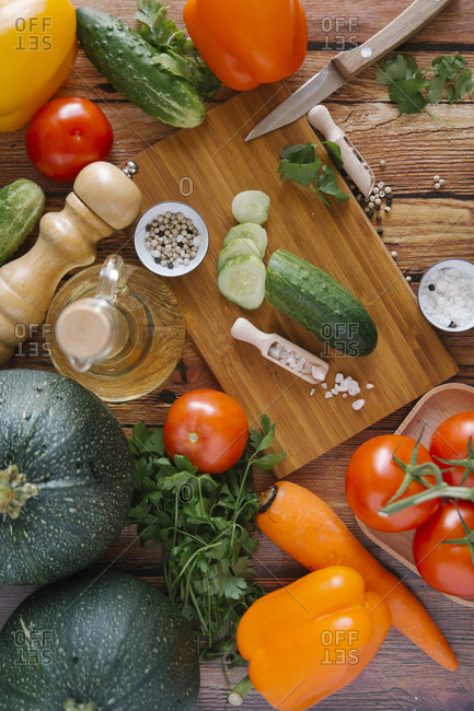 Ingredients for salad on cutting board