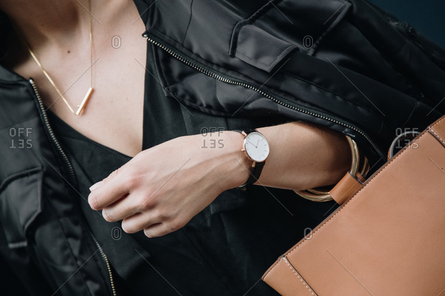 Close-up of a woman wearing a watch