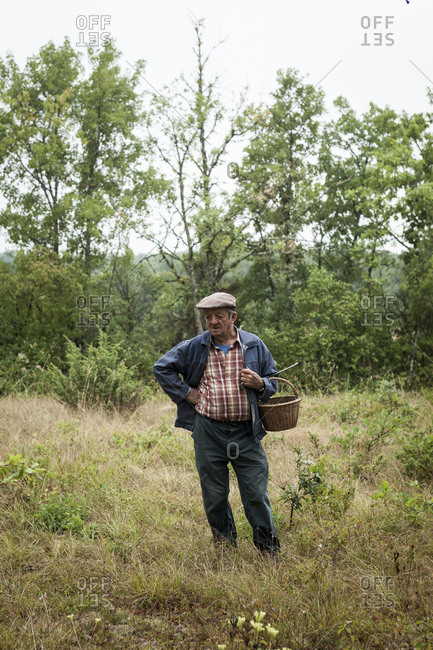 Lalbenque, France: July 28, 2012: Michel Astruc truffle hunting in the truffle grove