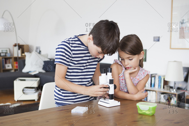 Girl looking at brother using microscope at table in house