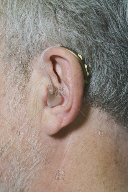 Cropped image of man wearing hearing aid