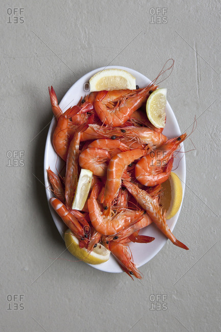 A plate of prawns