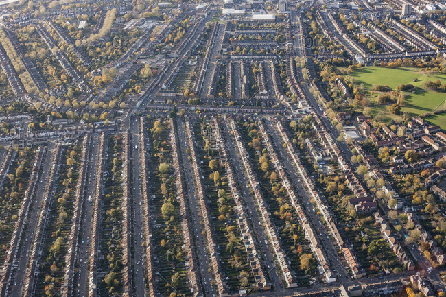 Aerial view of residential area, London, England, UK
