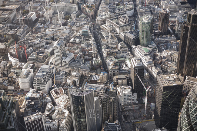 Full frame aerial view of city, London, England, UK
