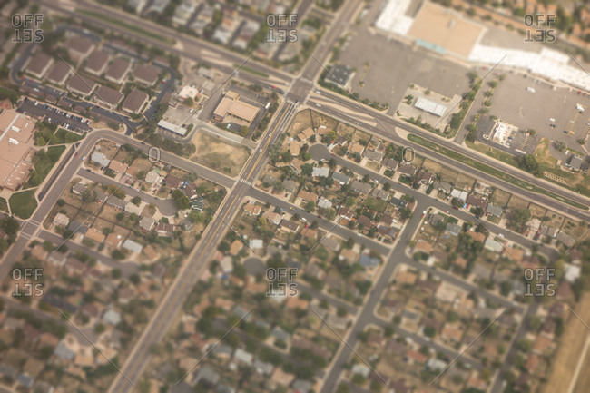 Aerial view of neighborhood in Casper, Wyoming