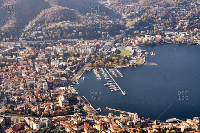 Lake Como area, Italy - November 21, 2017: Boats in the harbor on Lake Como in Italy