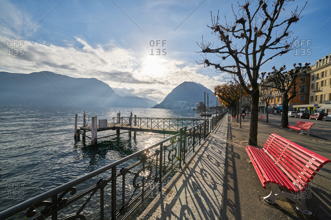 Lugano, Switzerland - November 22, 2017: Sunrise over Lugano, Switzerland