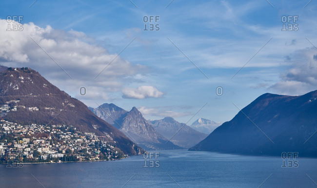 Mountains and lake surrounding Lugano, Switzerland