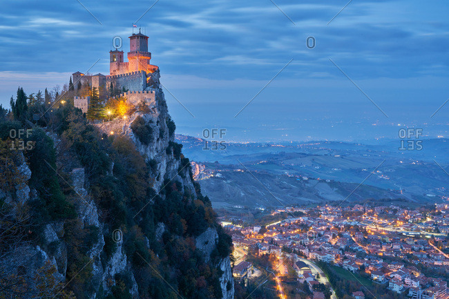 Fortress of Guaita overlooking San Marino, Europe at night