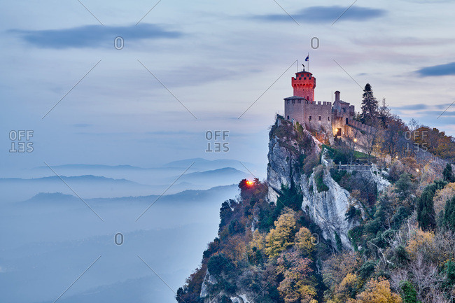 Fortress of Guaita in the Apennine mountains in San Marino, Europe