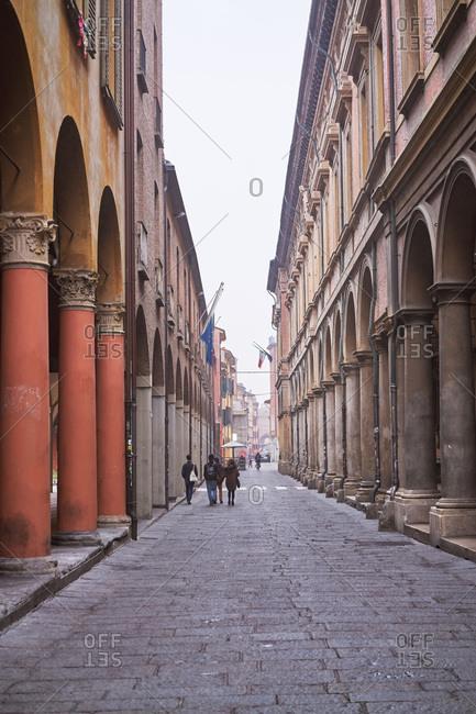 Bologna, Italy - November 25, 2017: Street scene in Bologna, Italy