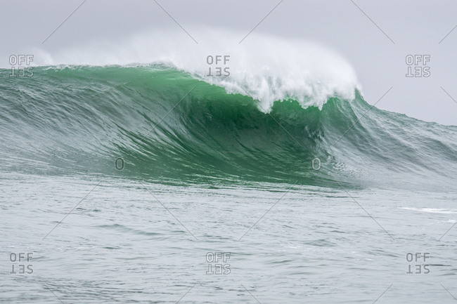 Heavy breaking wave in Half Moon Bay, California