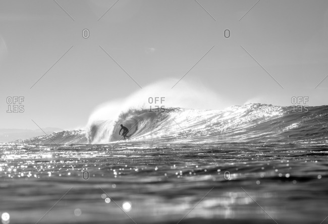 Surfer dropping into barreling wave