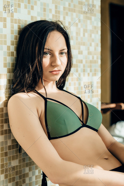 Portrait of woman relaxing in swimming suit in spa