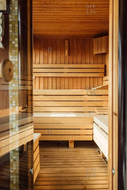 Inside of sauna in SPA center