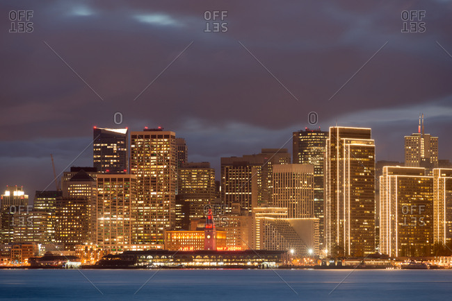 San Francisco in December illuminated at night