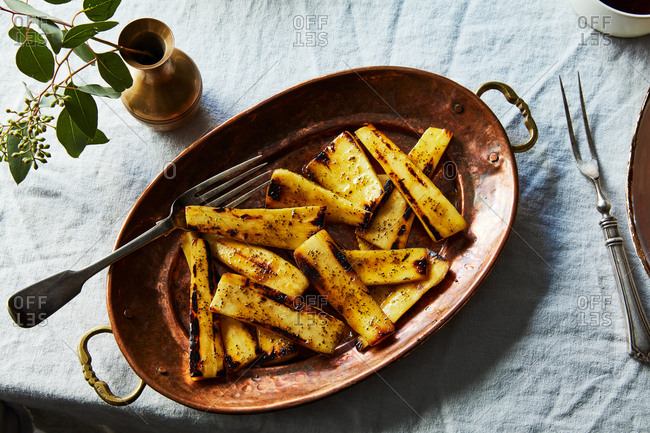 Seared glazed parsnips