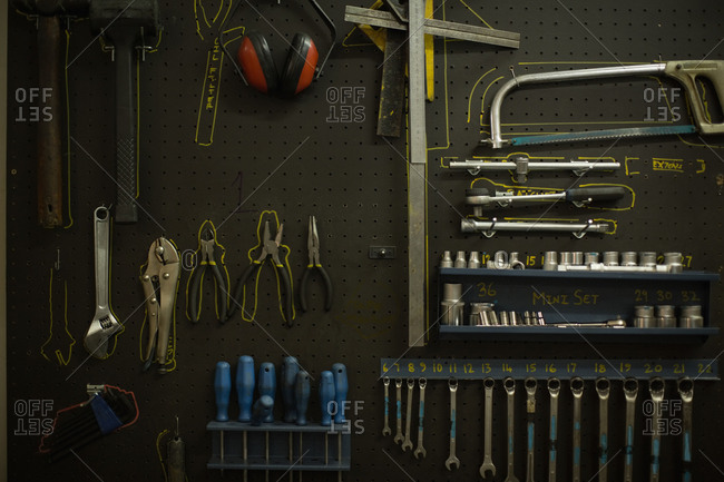 Close-up of various tools in garage