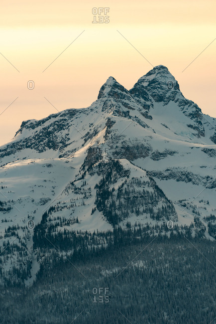 Beautiful snow covered mountains during sunset