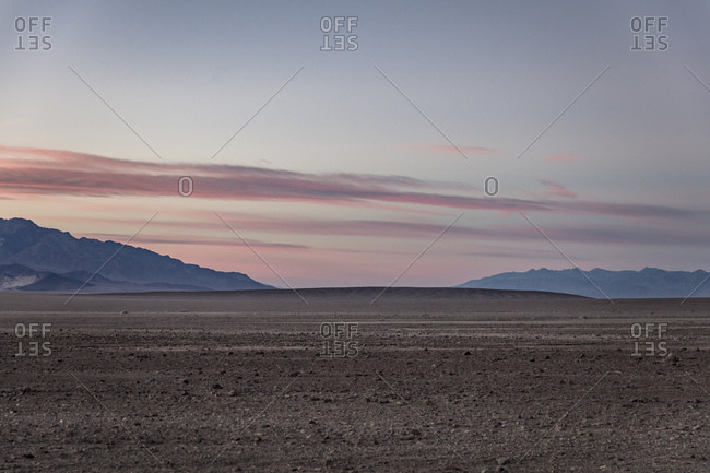 Desert landscape at sunset in Death Valley National Park in California