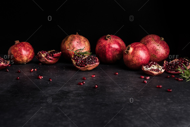 Pomegranates and rosemary