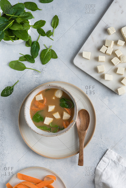 Bowl of miso soup with tofu