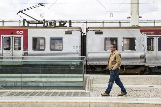 Lisbon, Portugal - March 21, 2016: A man on a platform at Oriente Station