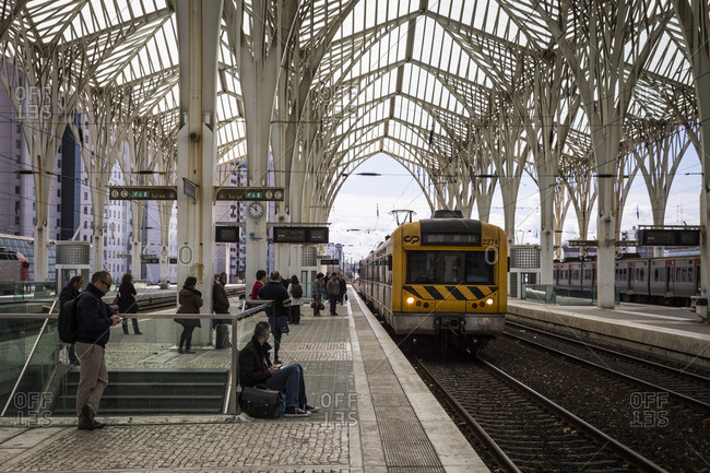 Lisbon, Portugal - March 21, 2016: A train pulls up to the platform at the Oriente train station