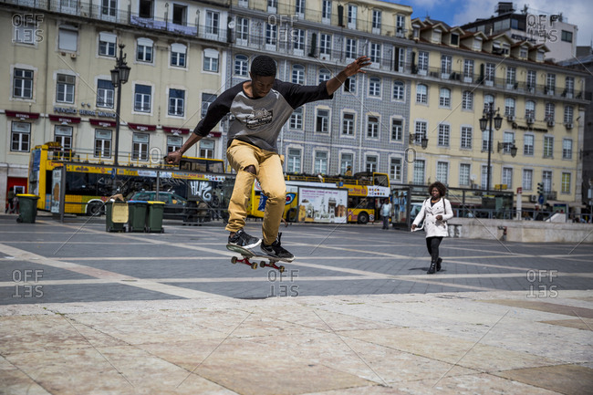 Lisbon, Portugal - March 29, 2016: Skater in Praca Figueira