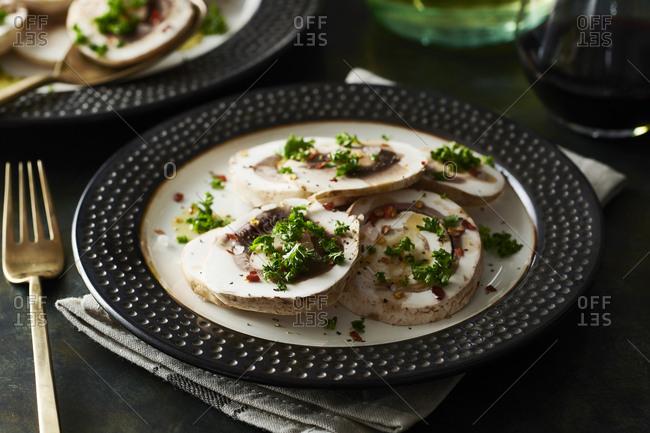 Plate with mushroom salad