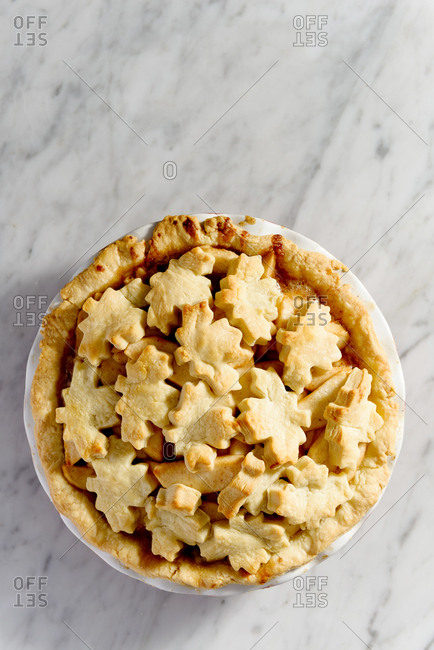 Apple pie with maple leaf crust