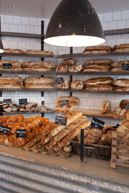 Bakery filled with variety of bread loaves