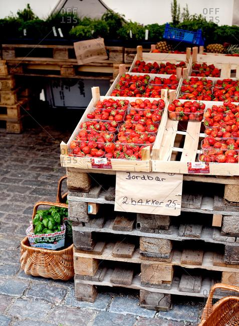 Copenhagen, Denmark - May 2, 2008: Fresh strawberries for sale at a market