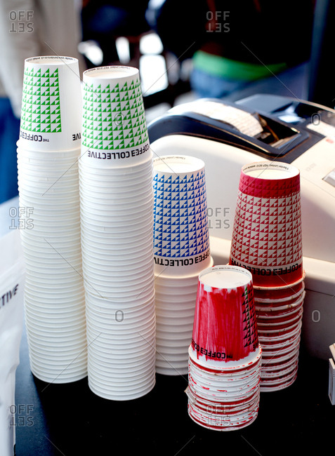 Copenhagen, Denmark - May 2, 2008: Stacked cups in a coffee shop
