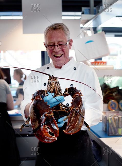 Copenhagen, Denmark - May 3, 2008: Chef holding a large lobster