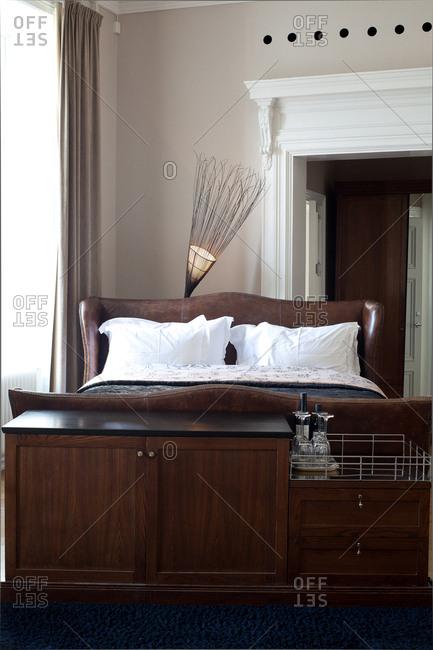 Stockholm, Sweden - September 7, 2008: Large bed in a hotel room