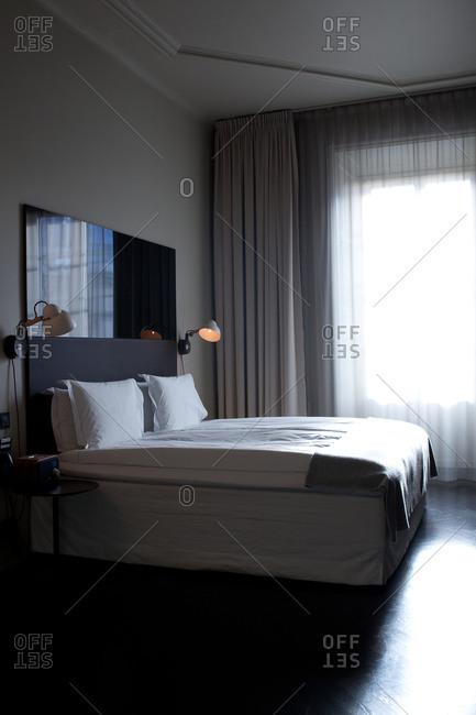 Stockholm, Sweden - September 7, 2008: Bed in a hotel room