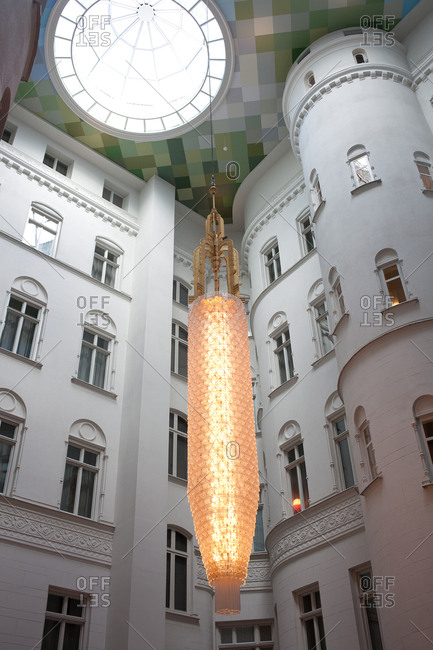 Stockholm, Sweden - September 7, 2008: Large chandelier in a hotel lobby