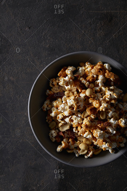 Popcorn party mix in a bowl