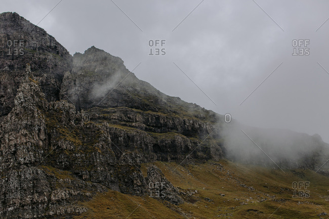 Stony mountainside in the fog