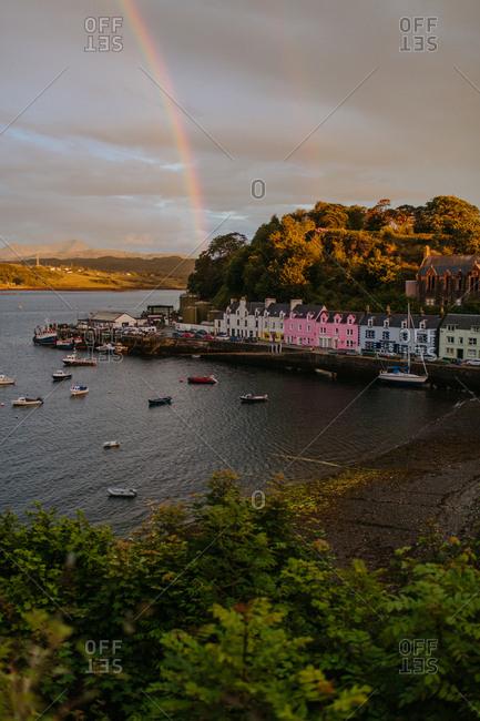 Scotland - February 1, 2018: Stormy rainbow over boating area