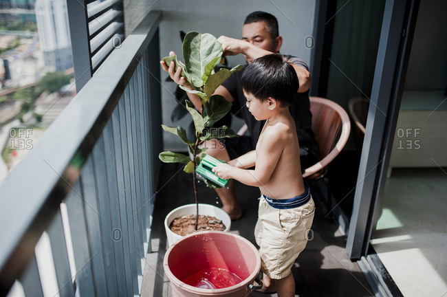 High angle view of father and son planting plant in balcony