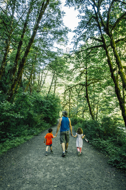 Rear view of father holding children's hands while walking amidst forest